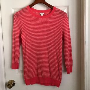 J.Crew factory dot-striped 3/4 sleeve sweater S
